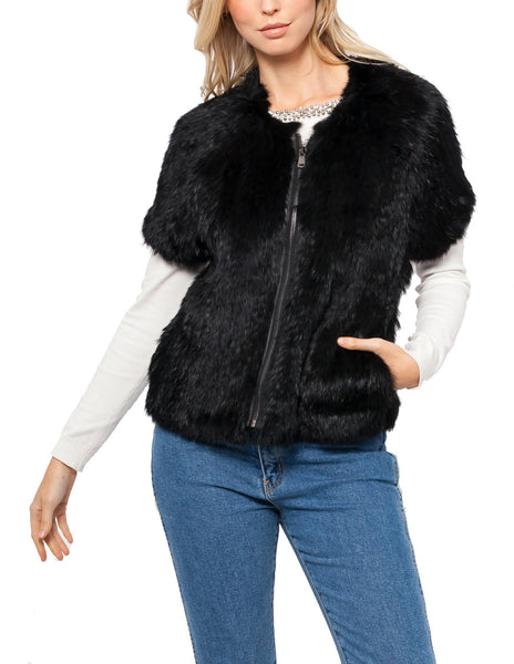 Isabela Short Sleeved Rabbit Fur Jacket