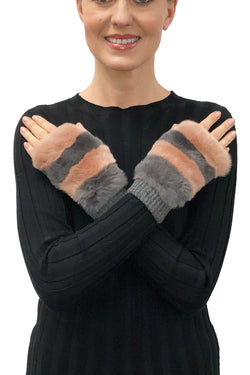 Franny Genuine Real Rex Rabbit Fur Fingerless Mittens