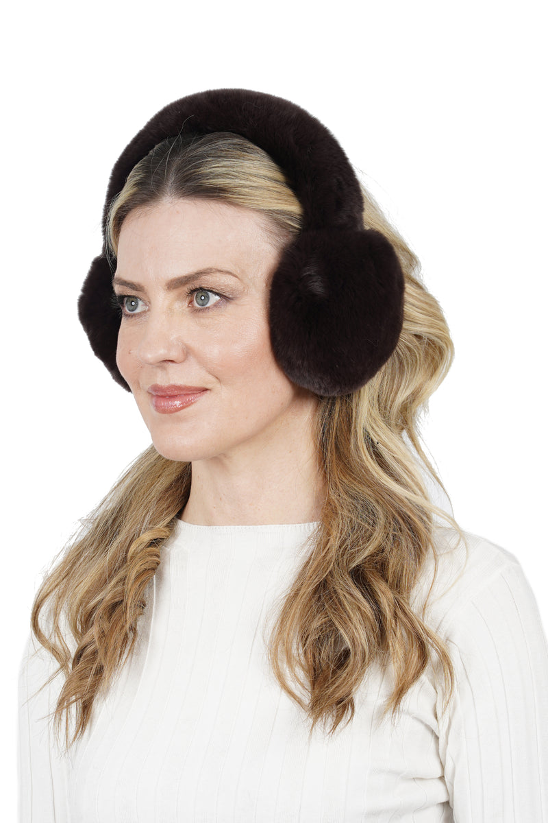 Yasmine Genuine Real Rex Rabbit Fur Ear Muffs