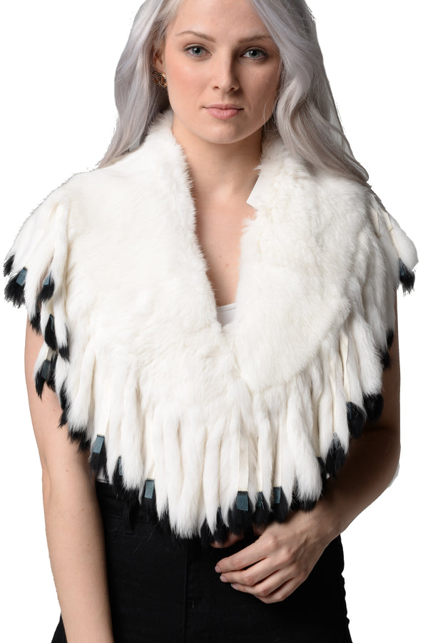 Sophie Genuine Rabbit Fur Shawl