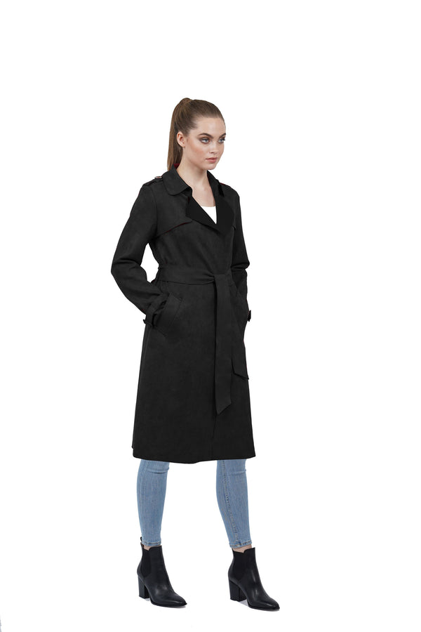 Adrianna Ultra Suede Lightweight Trench Coat Jacket
