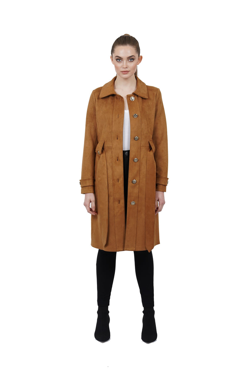 Ulysses Suede Long Trench Coat Jacket