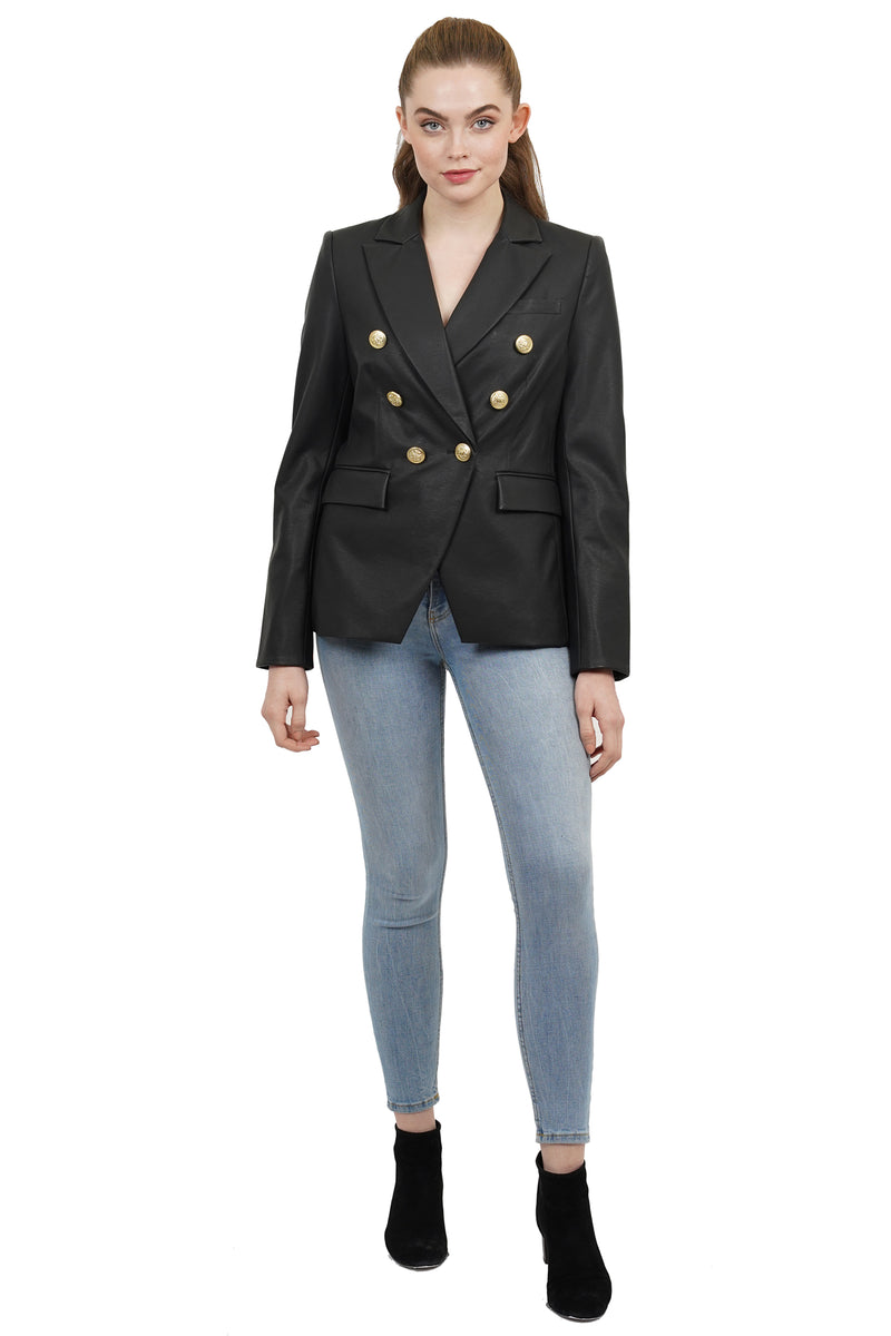 Nellie Faux Leather Double Breasted Jacket