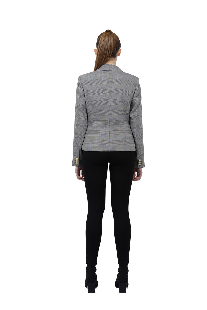 Cher Grey/Black Plaid Blazer Jacket