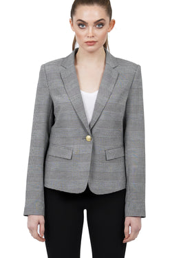 Cher Grey/Black Plaid Blazer Jacket Coat