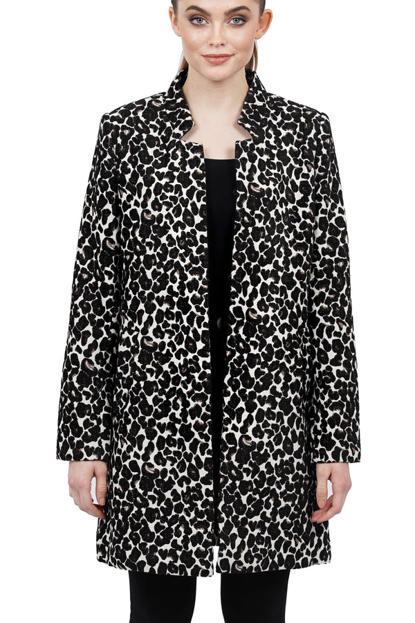 Regina Black Leopard Print Stand Collar Long Coat