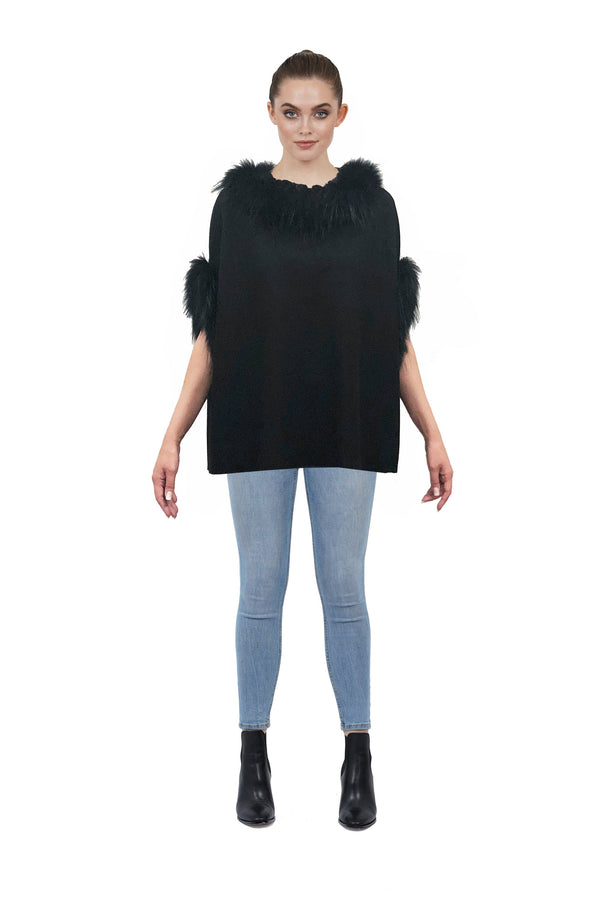 Carla Suede Poncho w/ Genuine Real Racoon Fur Trim
