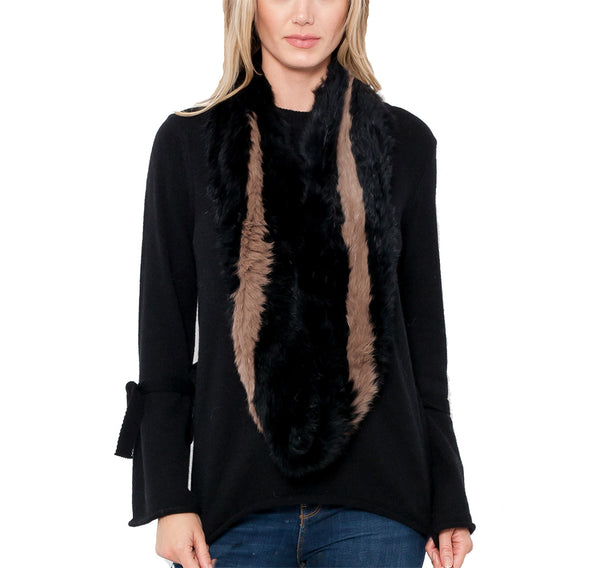 Monica Genuine Real Rabbit Fur Infinity Scarf