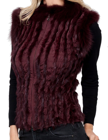 Salma Cropped Vest w/ Rabbit + Fox Fur