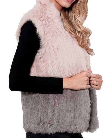 Jennifer Color Block Rabbit Fur Vest
