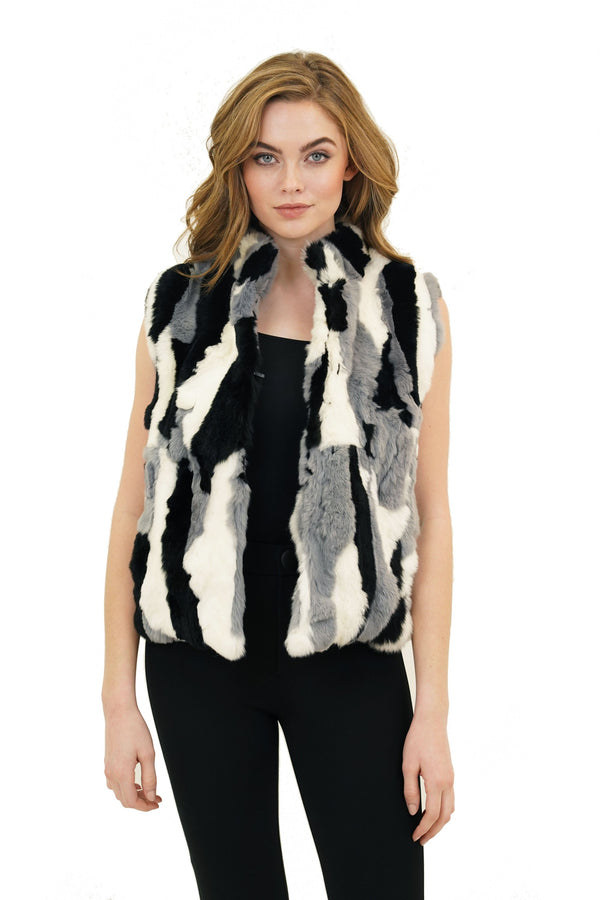 Ellison Genuine Real Rex Rabbit Fur Collared Vest
