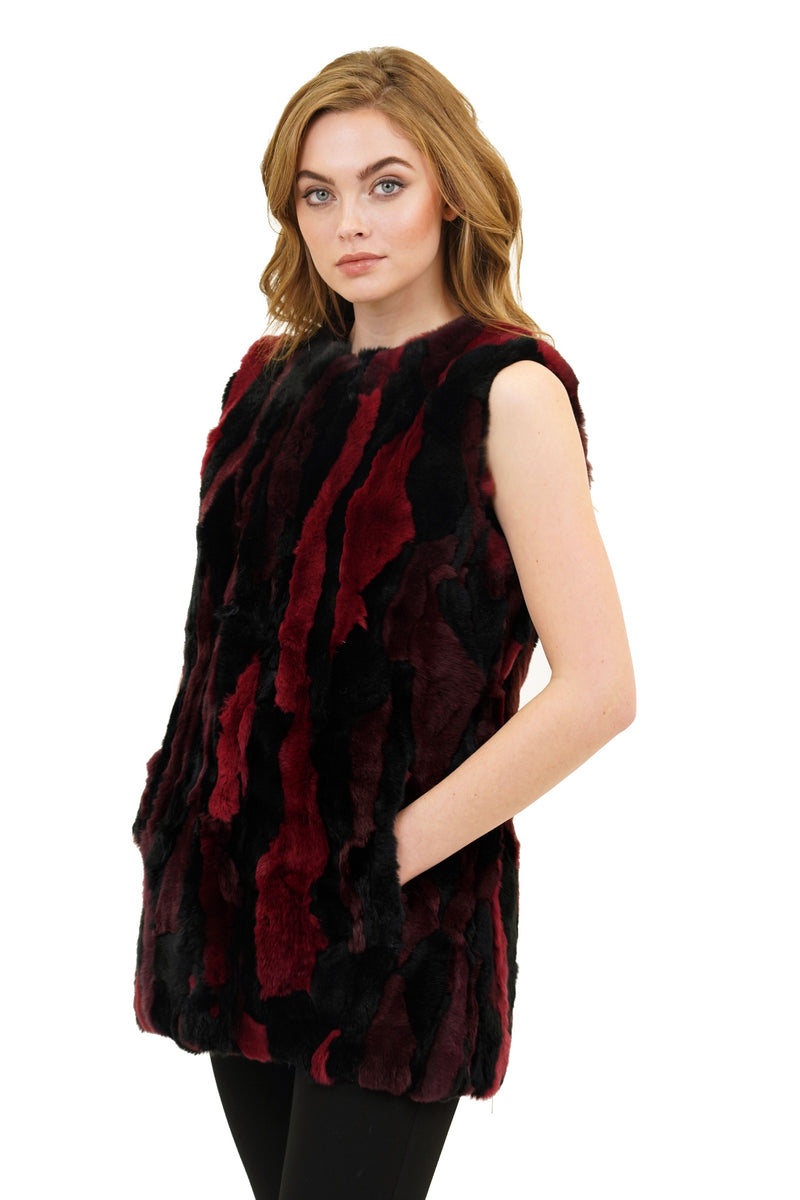 Cyrus Genuine Real Rex Rabbit Fur Collarless Vest
