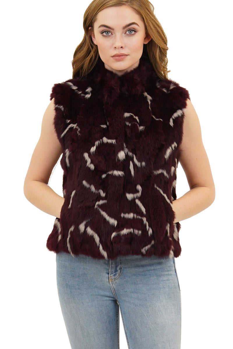 Helen Mockneck Genuine Real Rabbit Fur Vest