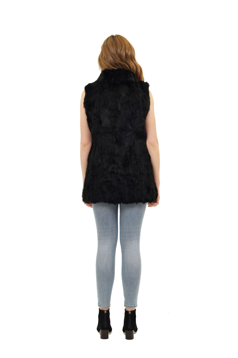 Faye Spread Collar Genuine Rabbit Fur Vest