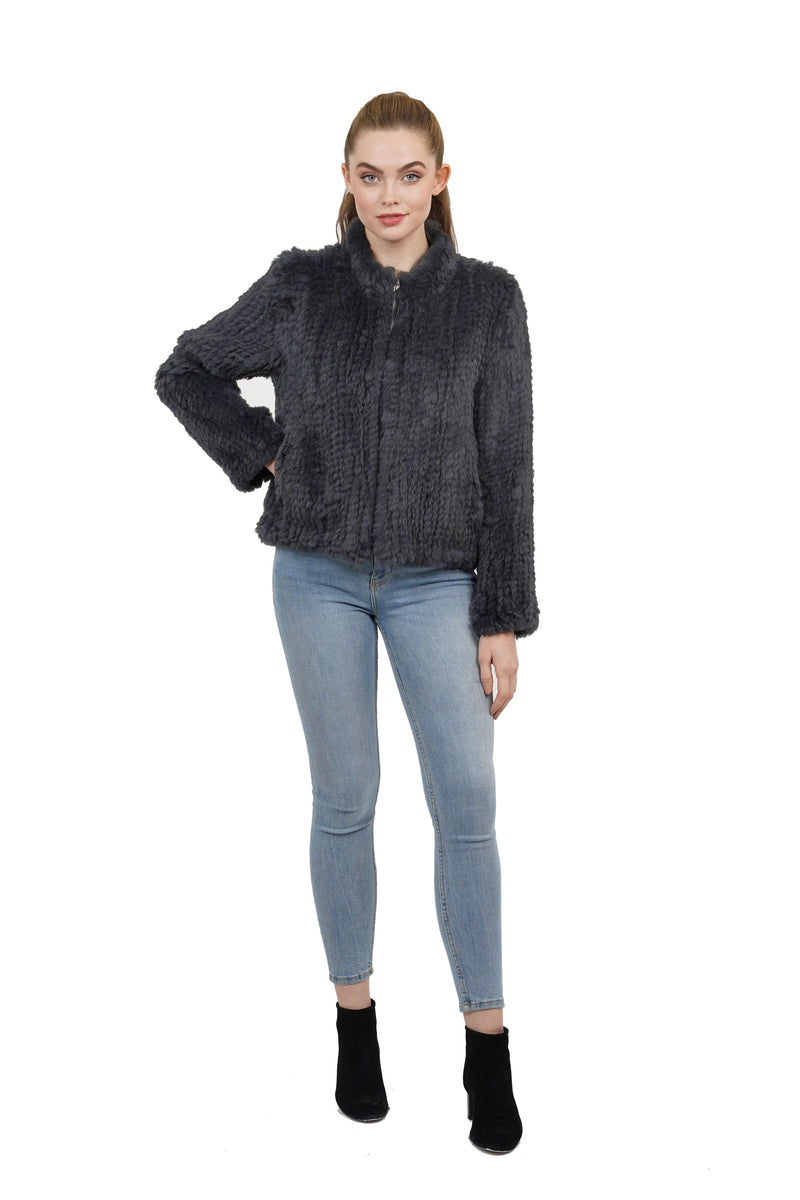 Kensley Genuine Rabbit Fur Zip Jacket
