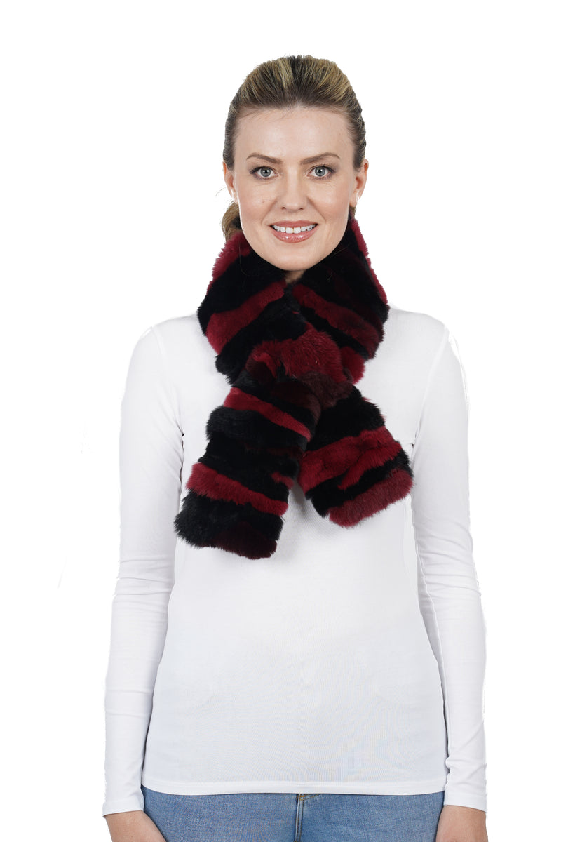 Kathleen Genuine Real Rex Rabbit Fur Pull-Through Scarf
