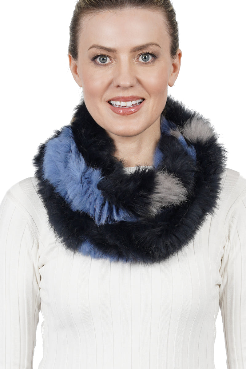 Lia Genuine Real Rabbit Fur Infinity Scarf