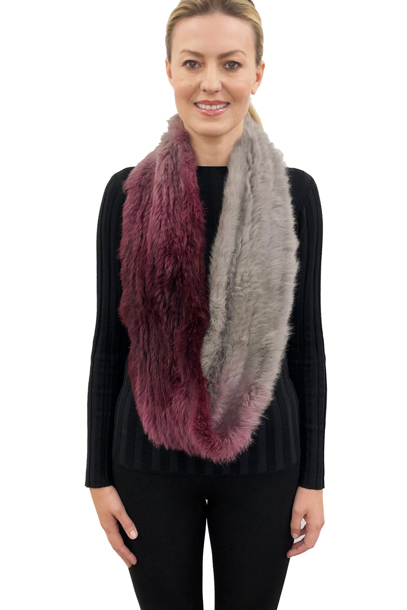 Lucille 2-Tone Genuine Real Rex Rabbit Fur Infinity Scarf