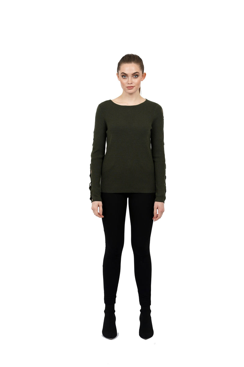 Marlee Crossed Open-Sleeve Sweater