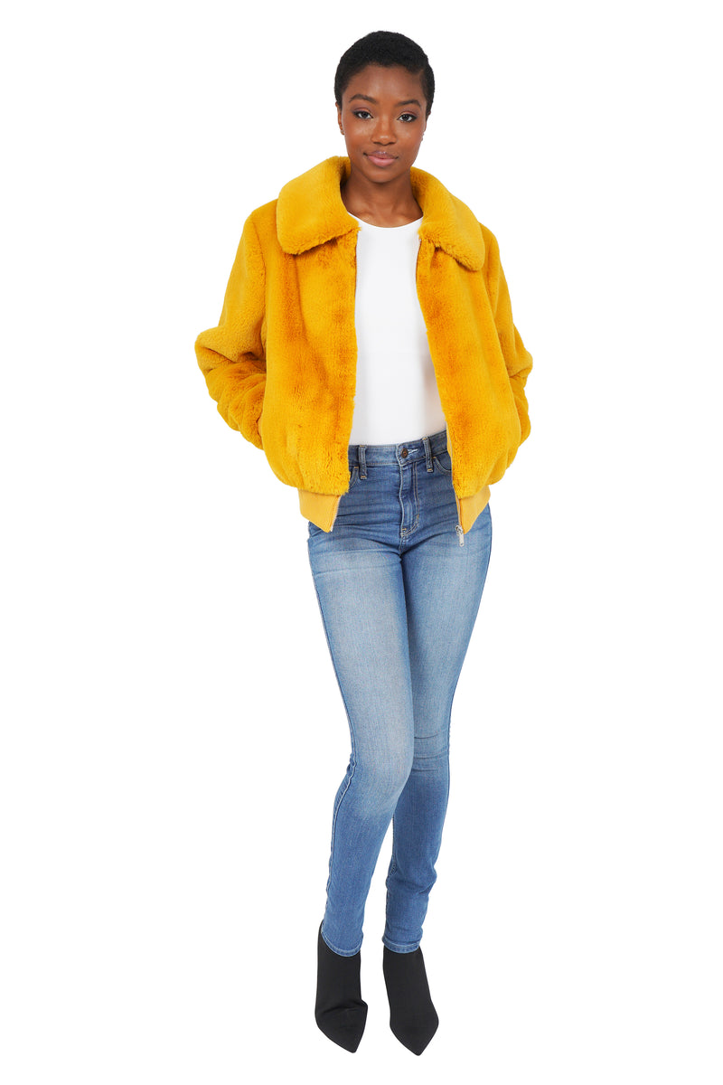 Becky Faux Fur Bomber Jacket