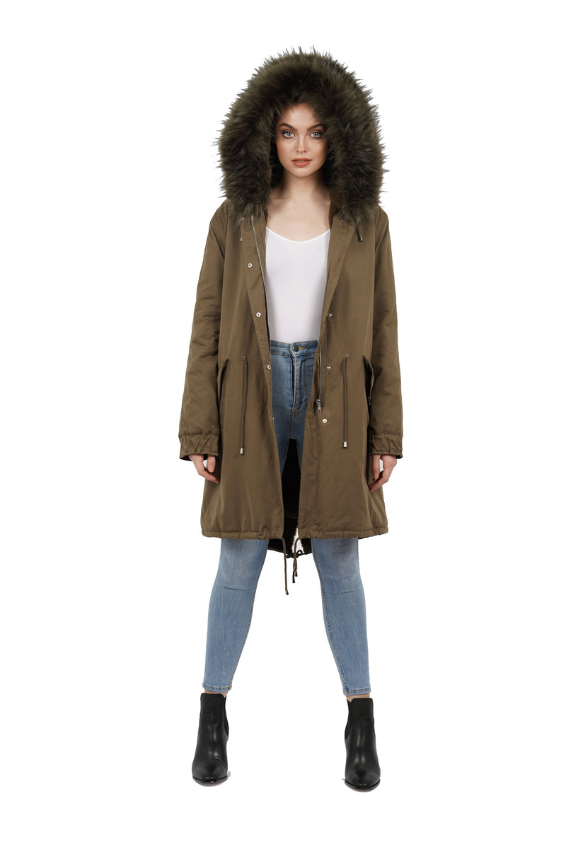 Thelma Faux Fur Trim Hooded Parka Jacket