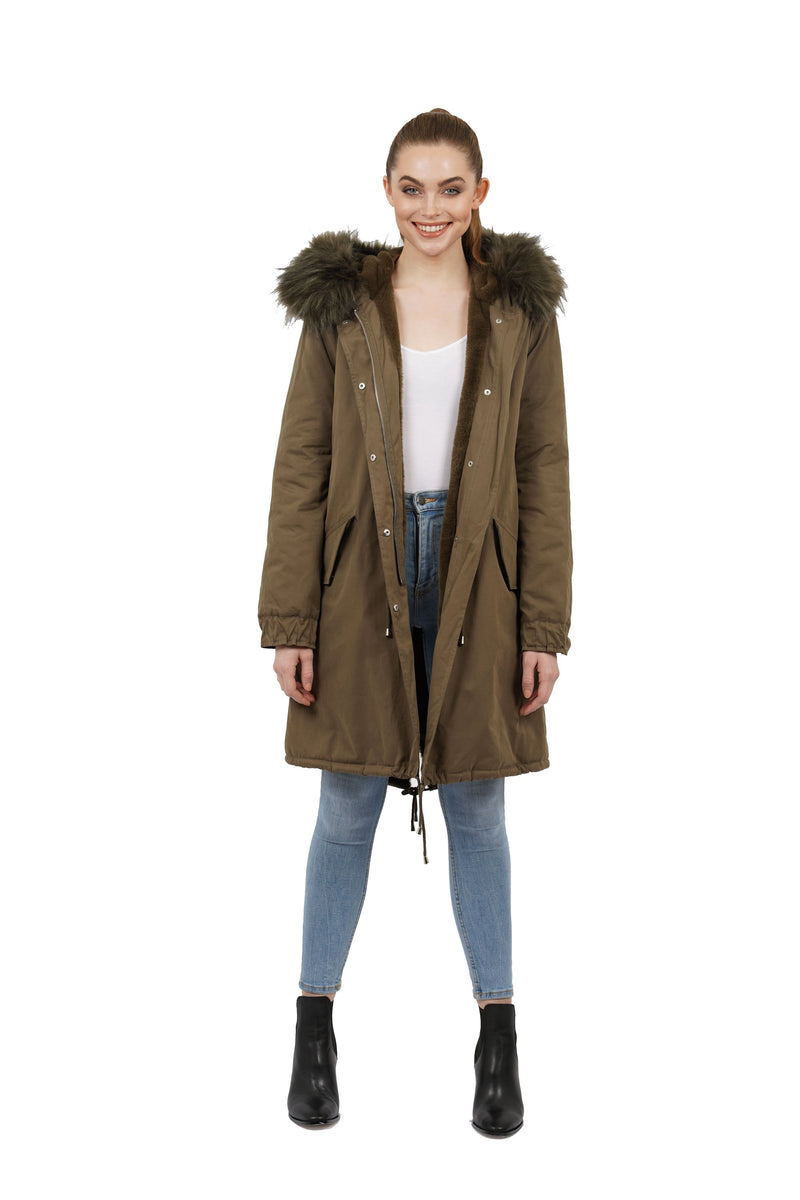Thelma Faux Fur Trim Hooded Parka Jacket Coat