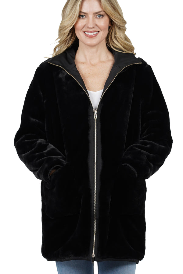 Tayna Faux Fur Reversible Hooded Jacket Coat