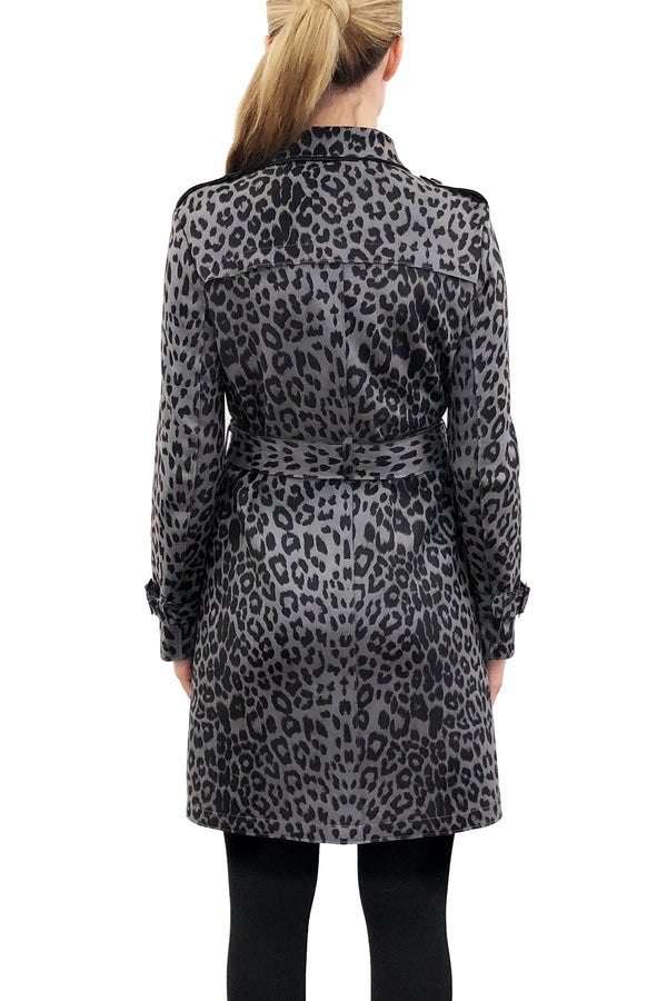 Sandee Grey Leopard Trench Coat Jacket