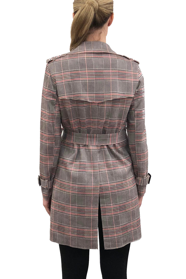 Piper Pink/Grey Plaid Trench Coat