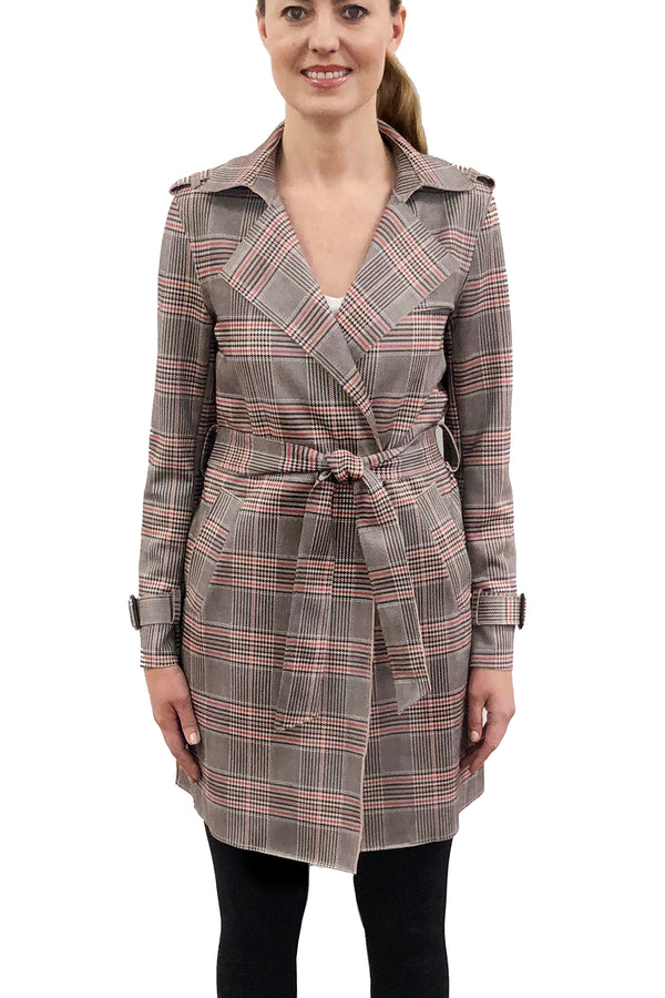 Piper Pink/Grey Plaid Trench Coat Jacket