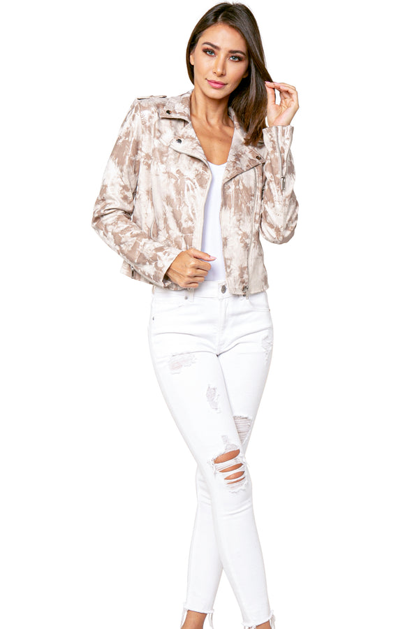 Andrew Distressed Print Suede Biker Jacket