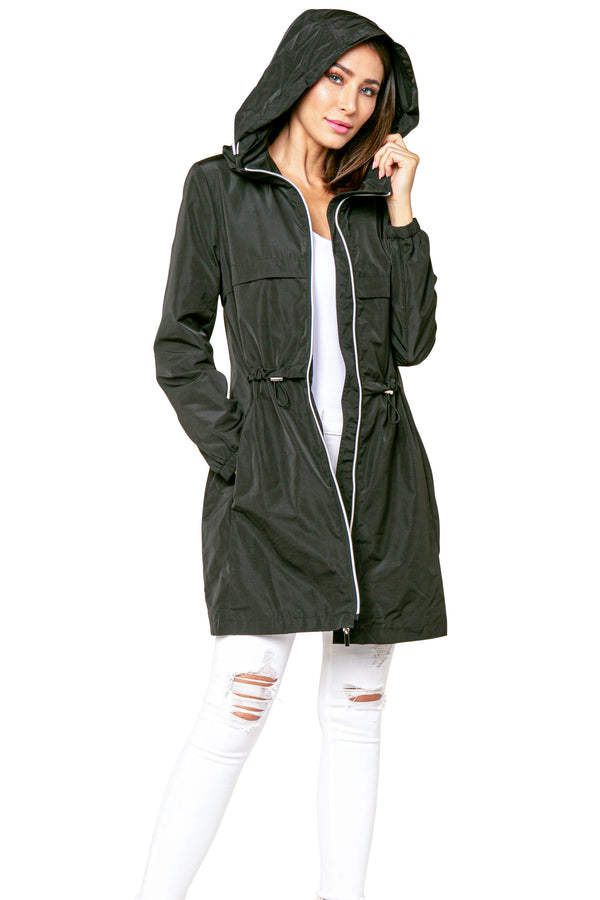 Alexander Hooded Long Anorak Jacket Windbreaker