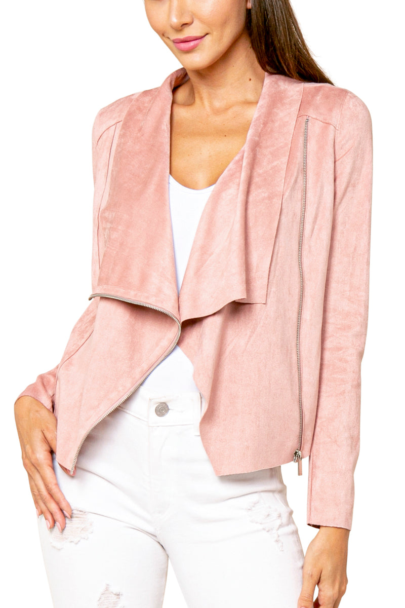 Emery Wide Collar Faux Suede Jacket