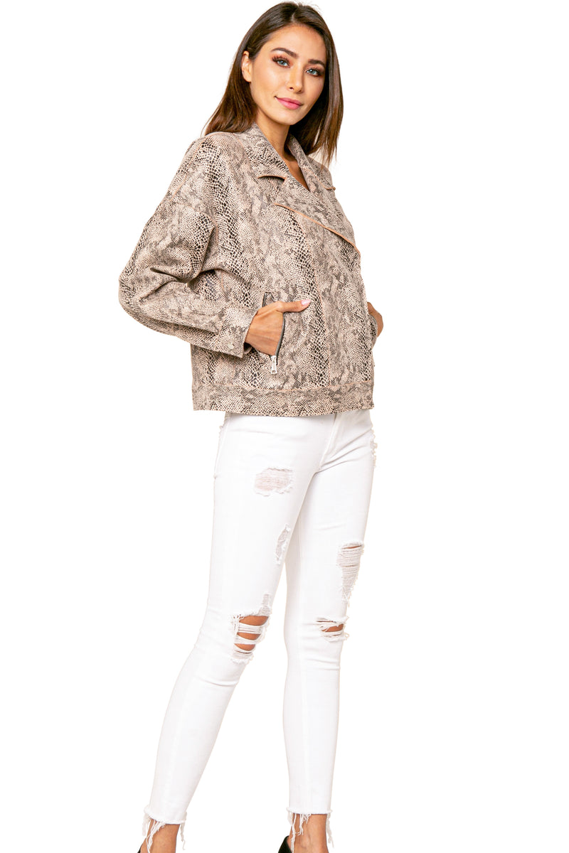 Anthony Snake Print Biker Jacket