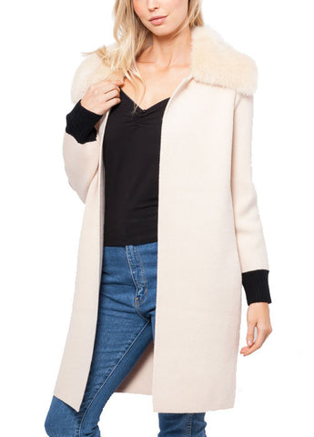 Megan Cardigan with Faux Fur Collar
