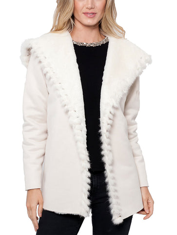 Valentina Faux Suede Jacket w/ Rabbit Fur Trim