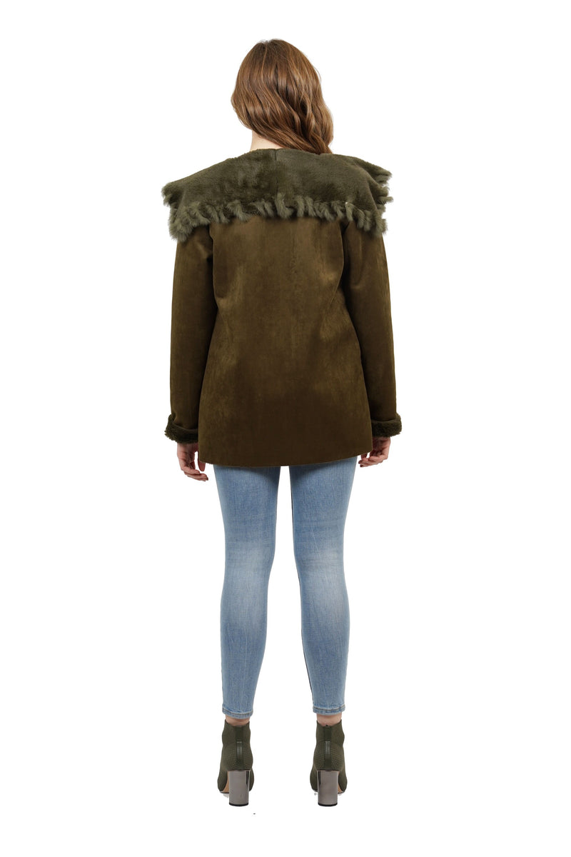 Valentina Genuine Real Rabbit Fur Contrast Jacket
