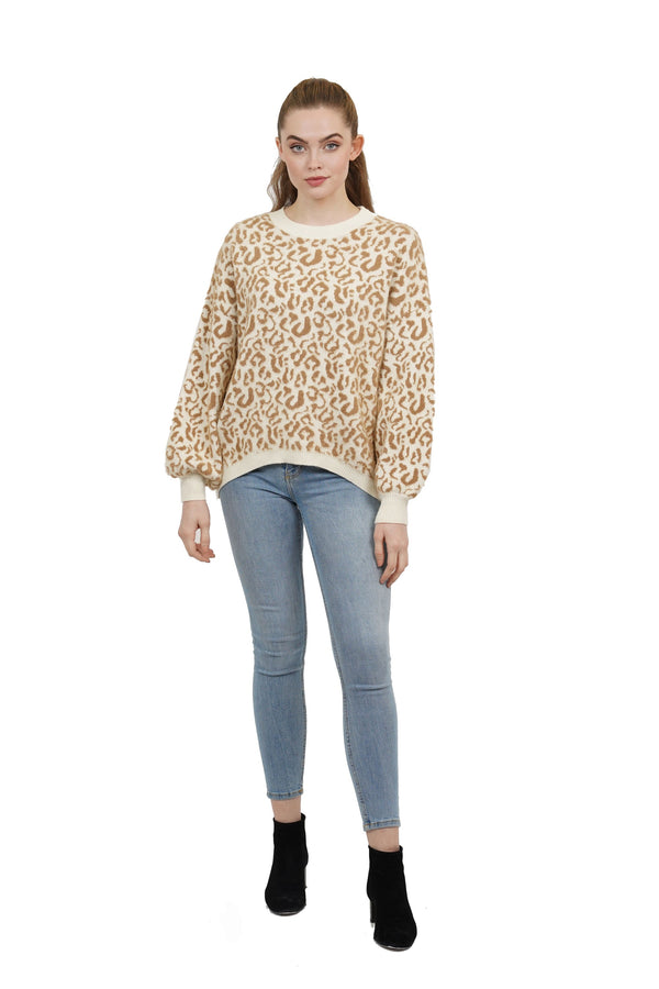 Kensie Drop Shoulder Leopard Print Sweater