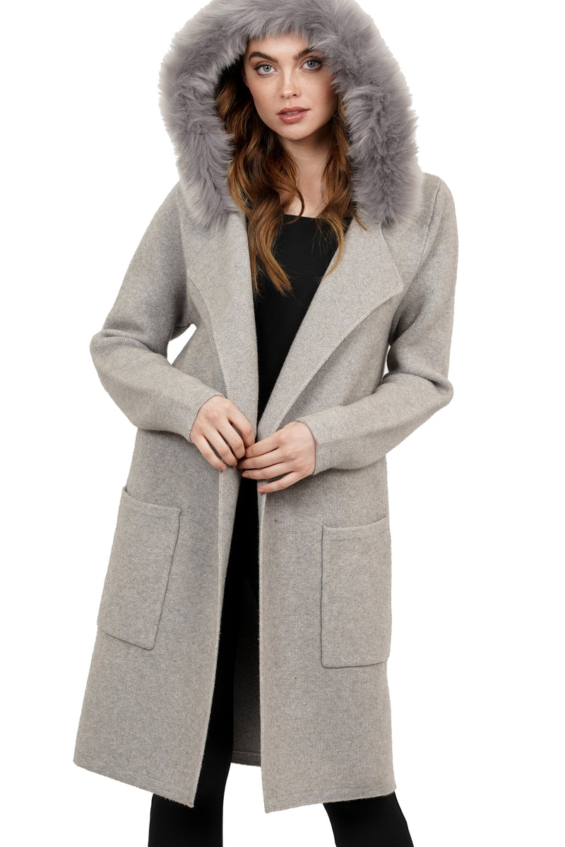 Roseanna Faux Fur Hooded Collared Walker Jacket