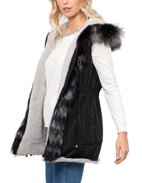 Porsha Fox Fur Trim Bubble Vest