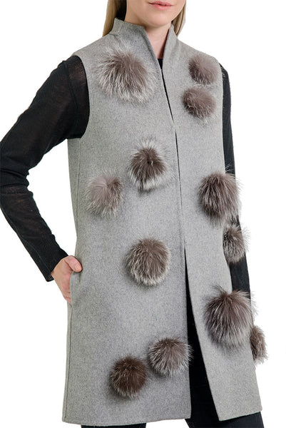 Summer Vest with Fox Fur Pom Poms