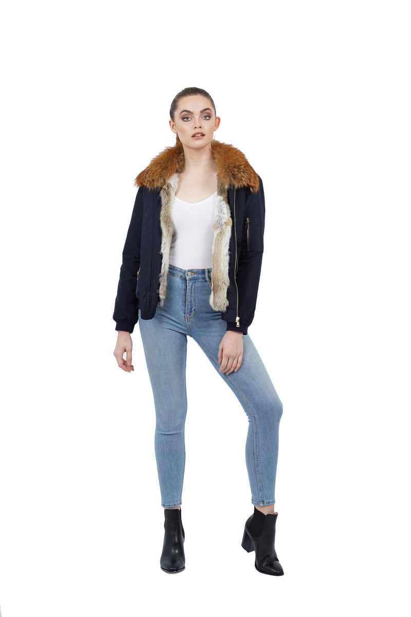 Rochelle Genuine Fox Fur Bomber Jacket