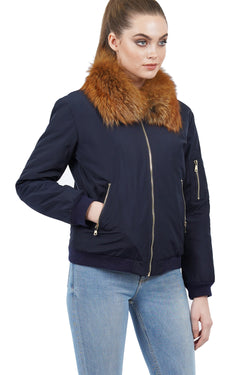 Rochelle Genuine Real Fox Fur Bomber Jacket Coat