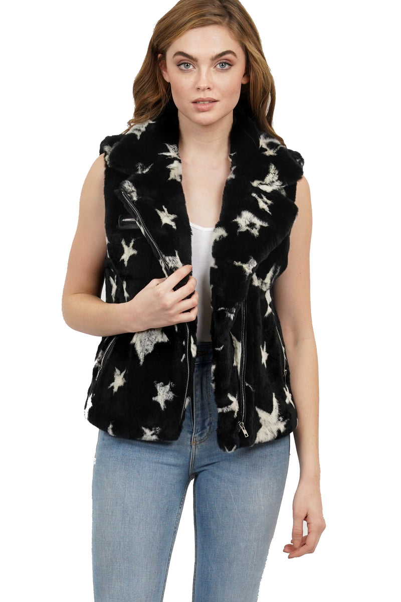 Colin Star Print Genuine Real Rex Rabbit Fur Vest