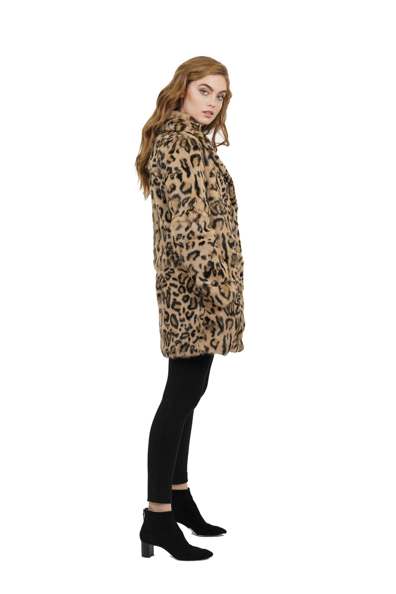 Ronnie Leopard Print Genuine Rabbit Fur Coat