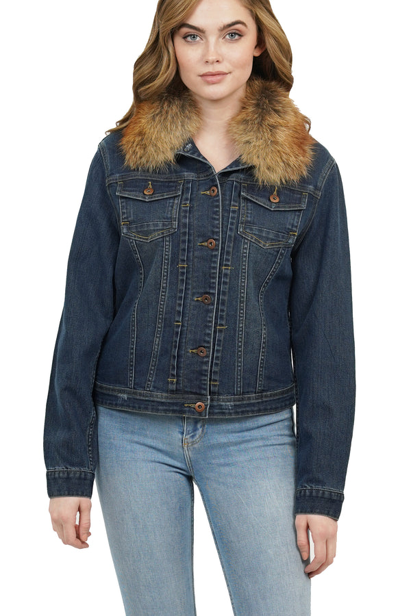 Clovor Dark Denim Jacket Coat w/ Genuine Real Fox Fur Trim