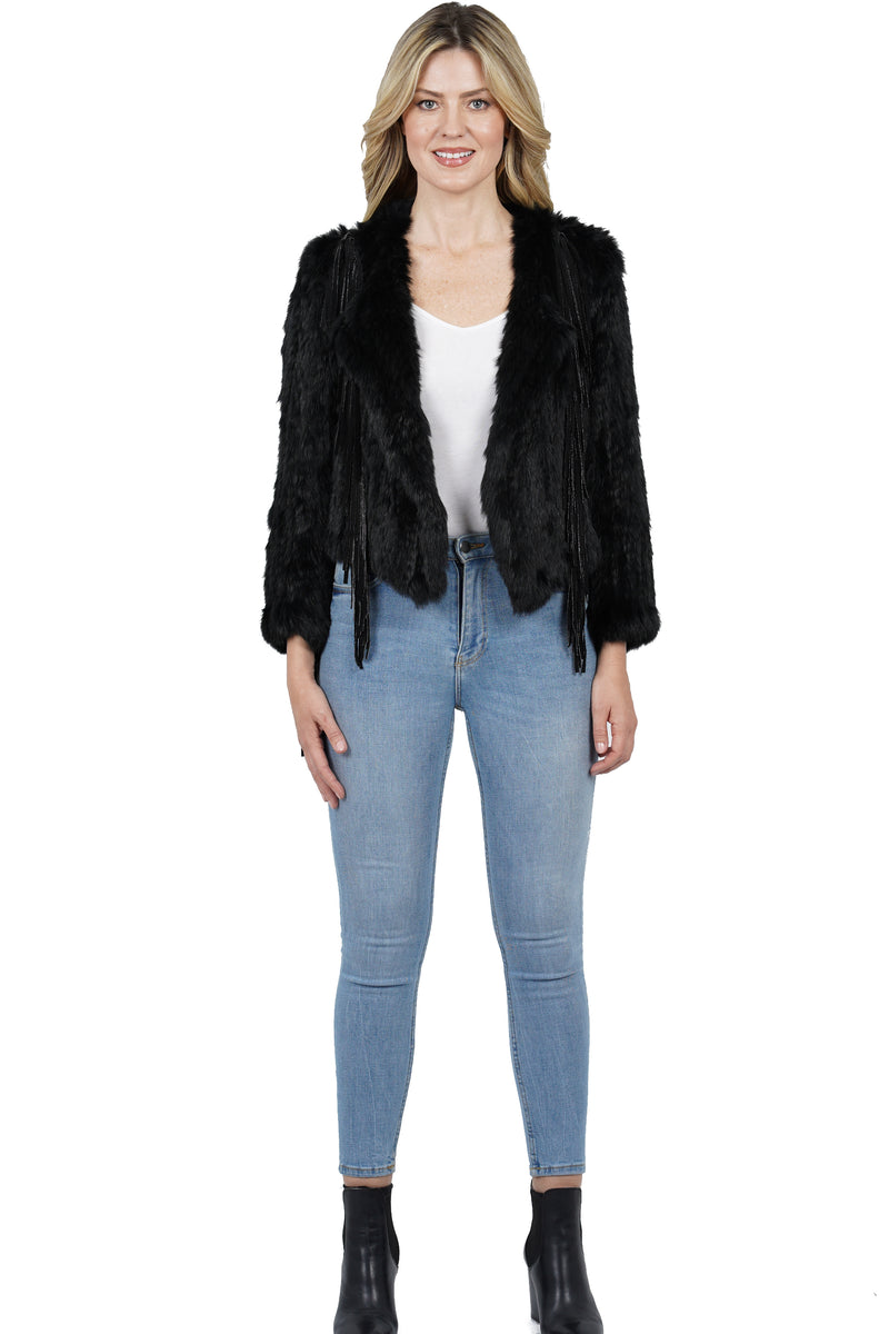 Lilac Genuine Rabbit Fur Knitted Jacket w/ Fringe
