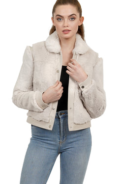 Cami Genuine Real Sheared Rex Rabbit Fur Jacket w/ Leather Trim