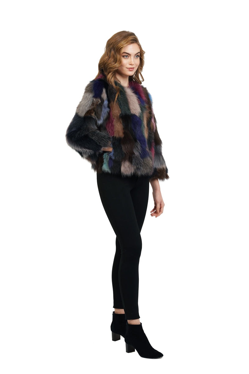 Desiree Multi Color Genuine Real Fox Fur Coat Jacket