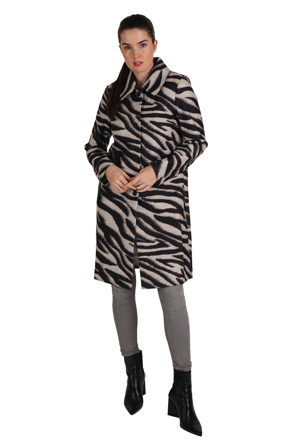Vivianne Zebra Print Long Coat Jacket